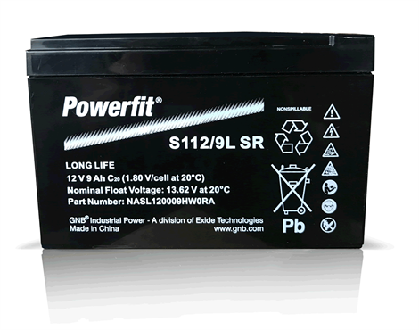 Exide Powerfit S112/9L SR 12V 12Ah AGM lead battery VRLA