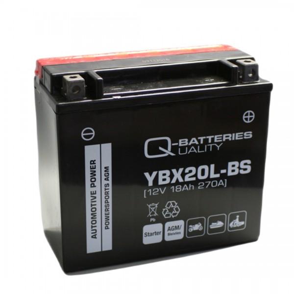 Q-Batteries Motorcycle battery YBX20L-BS 51822 AGM 12V 18Ah 270A