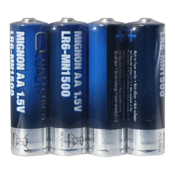 Q-Batteries Mignon AA LR06 1,5V Alkaline Batteries 4pcs Foil