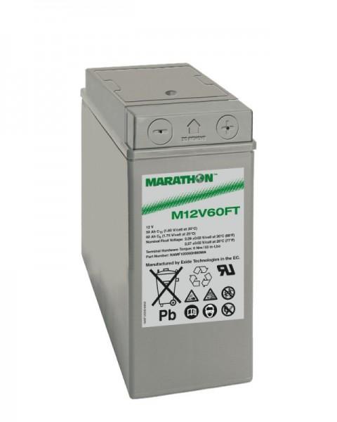 Exide Marathon M12V60FT 12V 59Ah Front terminal AGM lead fleece battery VRLA