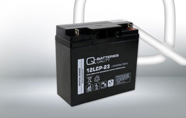 Q-Batteries 12LCP-23 / 12V - 23Ah lead acid battery Cycle type AGM - Deep Cycle VRLA - F3 connector