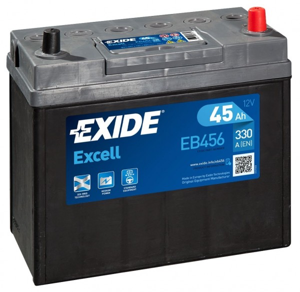 EXIDE EB456 EXCELL CAR BATTERY 45Ah 330A 154SE