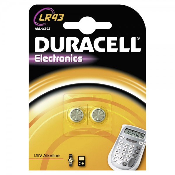 Duracell LR43 button cell alkali-manganese (blister of 2)