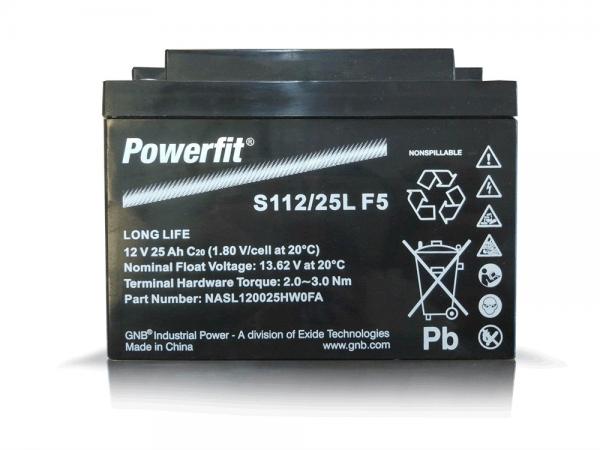 Exide Powerfit S112/25L F5 12V 12Ah AGM lead battery VRLA