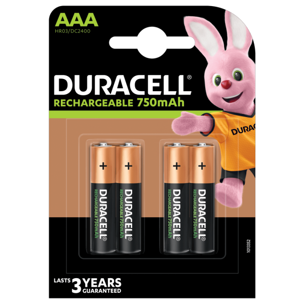 Duracell Rechargeable AAA HR03 750mAh Rechargeable Batteries | 4 Pack Blister